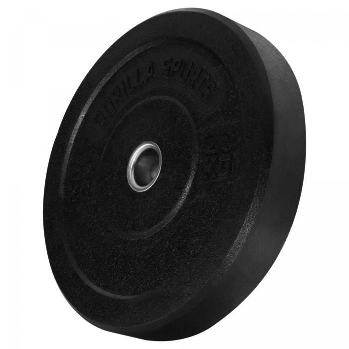 Gorilla Sports - Poids disques olympiques Hi Temp avec absorbeur de chocs - Noir - De 2,5 kg à 25 kg - Poids : 20 KG