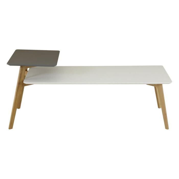 Table basse 130 cm double plateaux gris et blanc Scandie - Id'Click