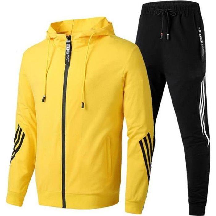 Ensemble de Sport Jogging Veste Capuche et Pantalon Taille Elastique Vetement 26 Pieces Couleur Unie