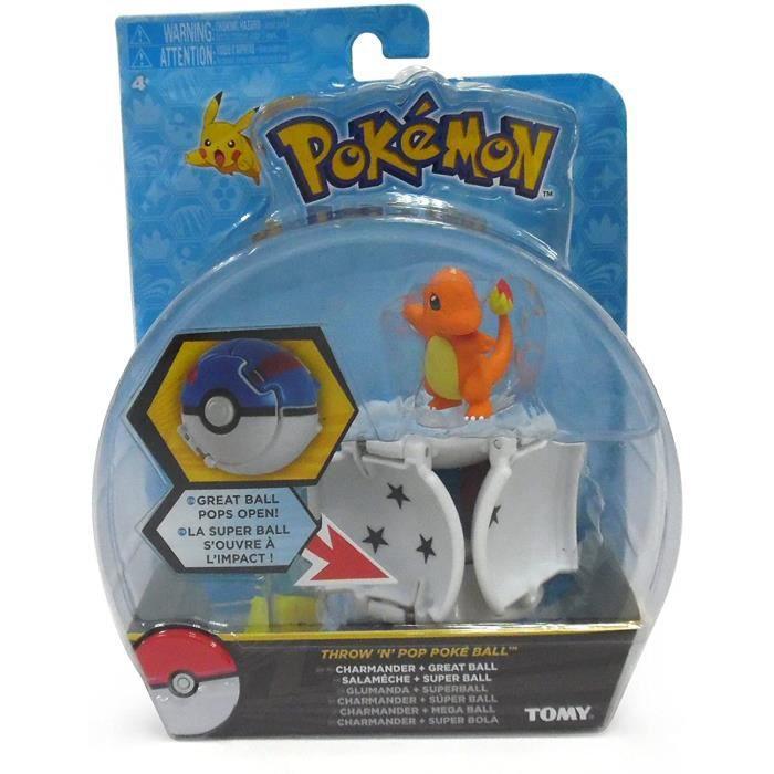 Pokémon Throw ' N ' Pop poké ball - Figurine Salameche 5cm + Super ball - T19111 - Neuf