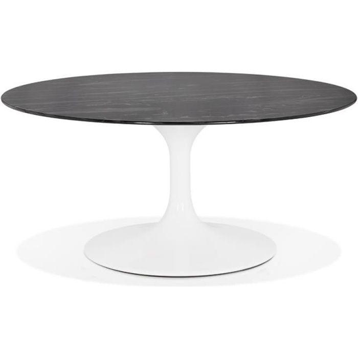 Table Basse De Salon Ronde Gost Mini En Verre Noir Effet Marbre
