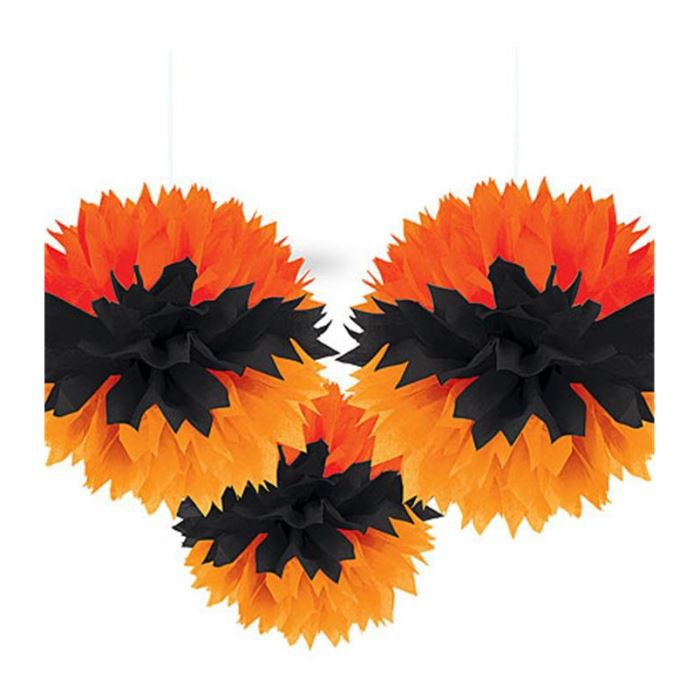 Pom pom de d coration halloween x3 achat vente d co for Decoration murale halloween