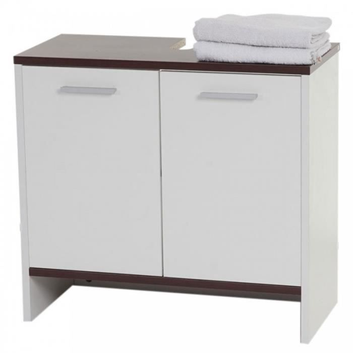 armoire lavabo meuble de salle de bain 56x60x28cm marron blanc sdb04005 achat vente meuble. Black Bedroom Furniture Sets. Home Design Ideas