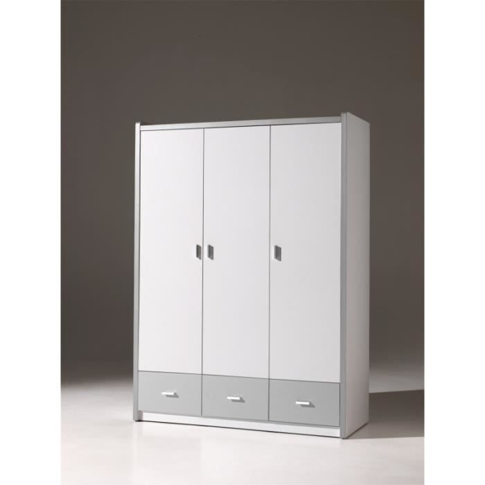 armoire enfant 3 portes blanche et grise alvin gris. Black Bedroom Furniture Sets. Home Design Ideas