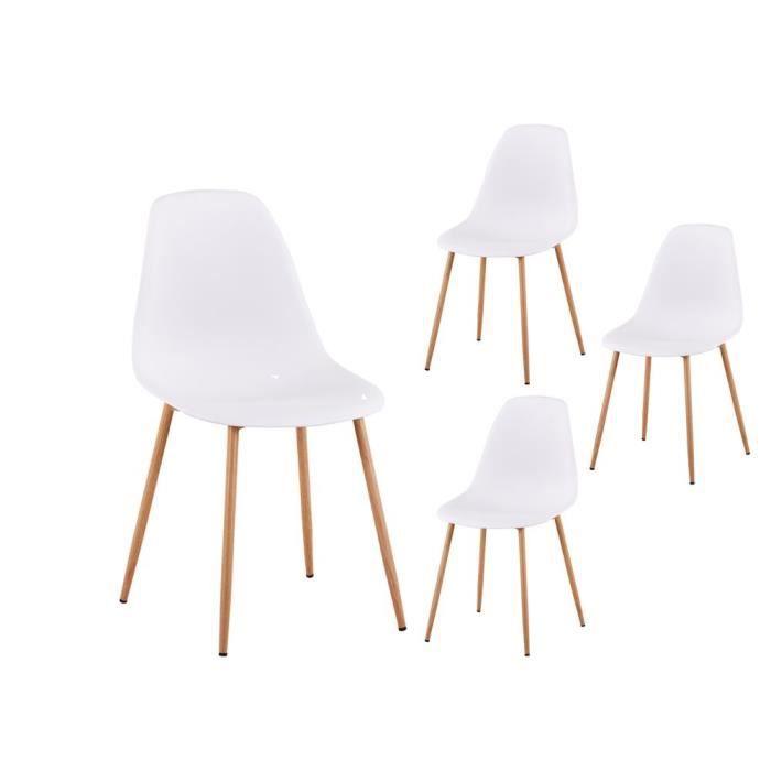 chaises scandinaves acier Pieds Lot de blanches 4 EVA en P0wOkX8n
