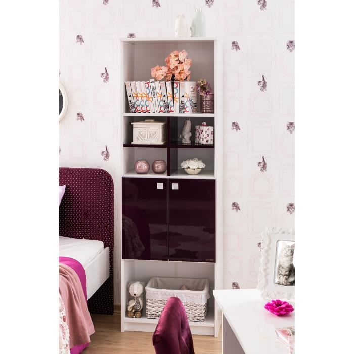 biblioth que design blanc et mauve laqu e 2 portes. Black Bedroom Furniture Sets. Home Design Ideas