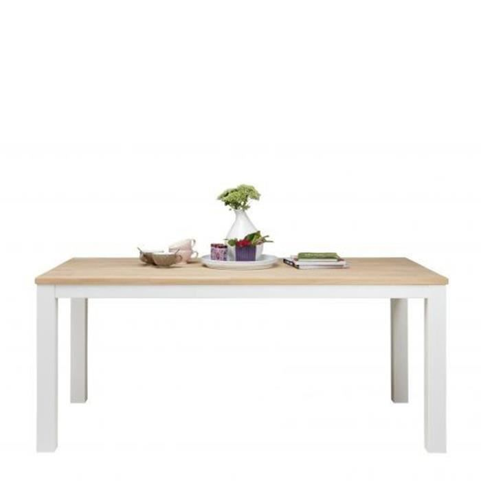 Table manger bois et blanc angelien dimensions 180x85 cm for Table scandinave blanc et bois