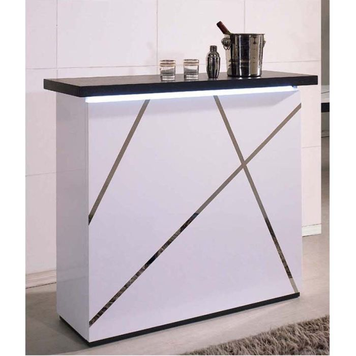 bar blaqu blanc plateau gris diamond achat vente meuble bar bar blaqu diamond cdiscount. Black Bedroom Furniture Sets. Home Design Ideas