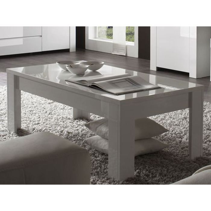 Table basse rectangulaire moderne laqu e grise achat - Table basse laquee grise ...