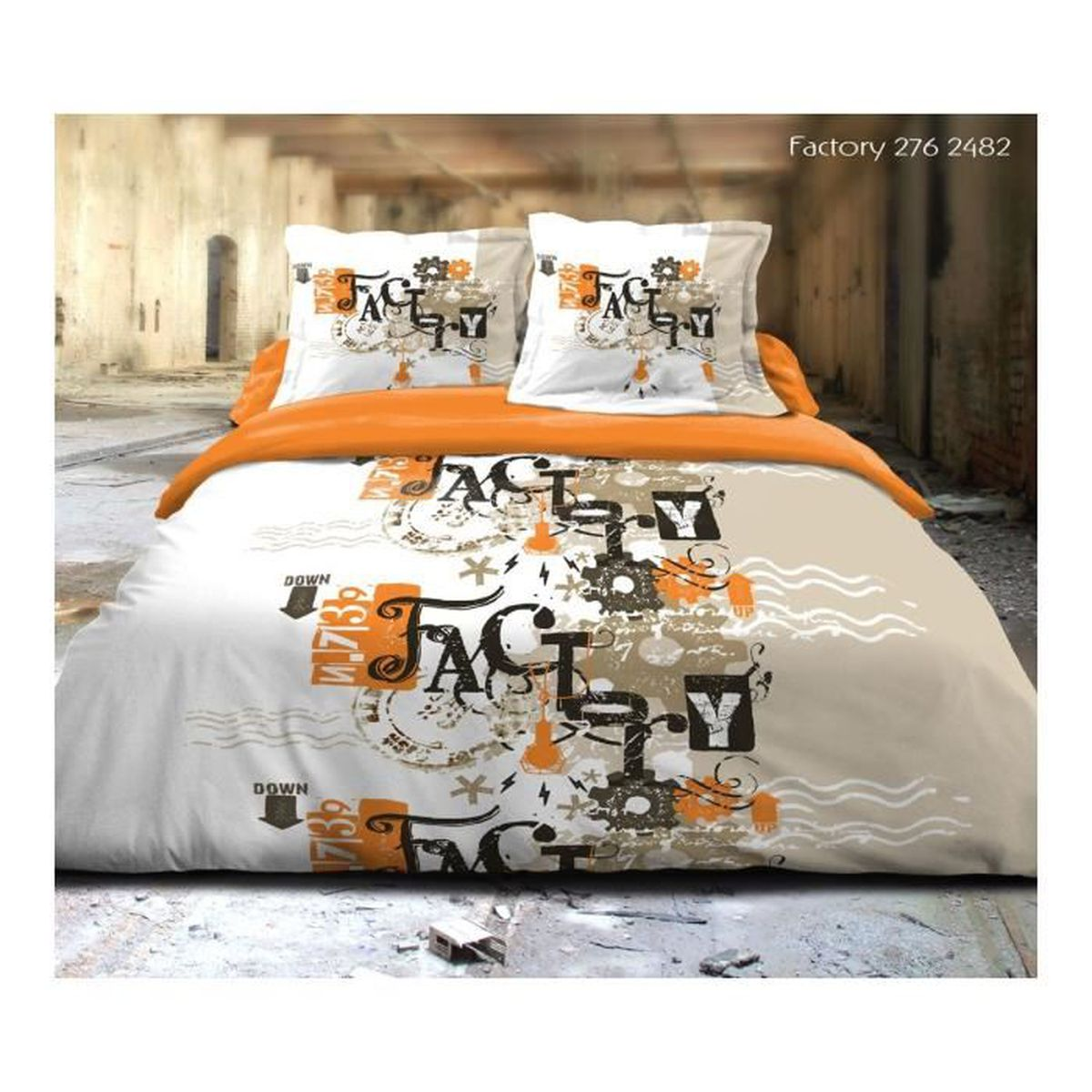 parure 3 pieces housse de couette factory orange achat vente parure de couette soldes d s. Black Bedroom Furniture Sets. Home Design Ideas