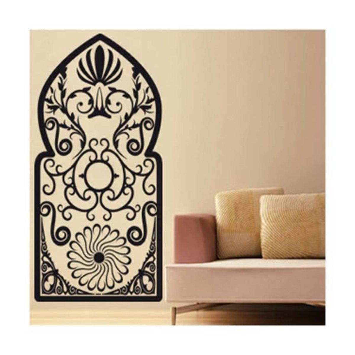 sticker porte orientale noir achat vente stickers cdiscount. Black Bedroom Furniture Sets. Home Design Ideas