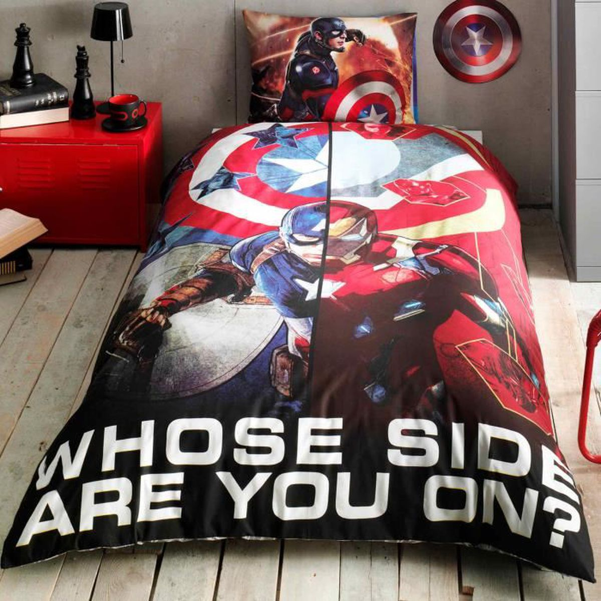 captain america imprim e 100 coton 1 personne parure de couette 3 pcs housse de couette. Black Bedroom Furniture Sets. Home Design Ideas