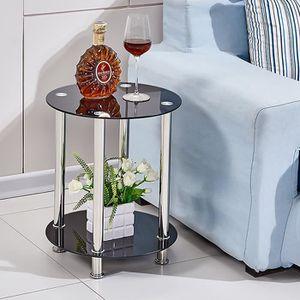 TABLE D'APPOINT Table basse petite Table d'appoint Noir en verre a