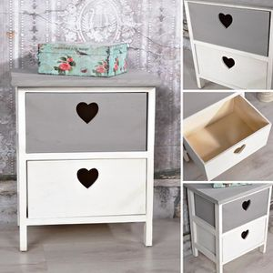 COMMODE DE CHAMBRE Commode tablette application coeur gris / blanc
