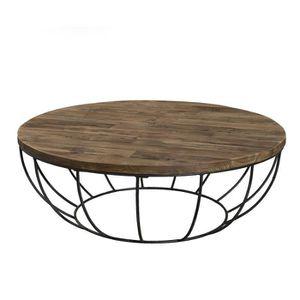 Table Basse Ronde Style Industriel En Bois Teck Achat