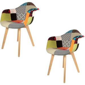 FAUTEUIL Lot de 2 Fauteuils Patchwork Multicolore The Home
