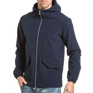 Imperméable - Trench Veste homme coupe vent bleu navy à capuche