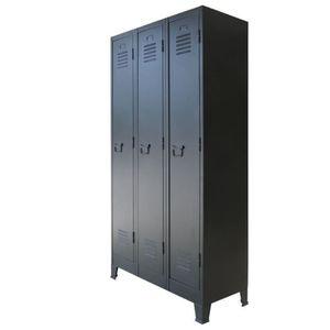 MEUBLE À CHAUSSURES Armoire à casiers Métal style industriel 90 x 45 x
