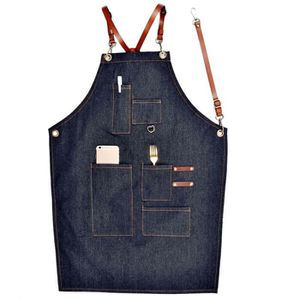 TABLIER DE CUISINE Tabliers En Toile De Jean En Cuir Simple Uniforme