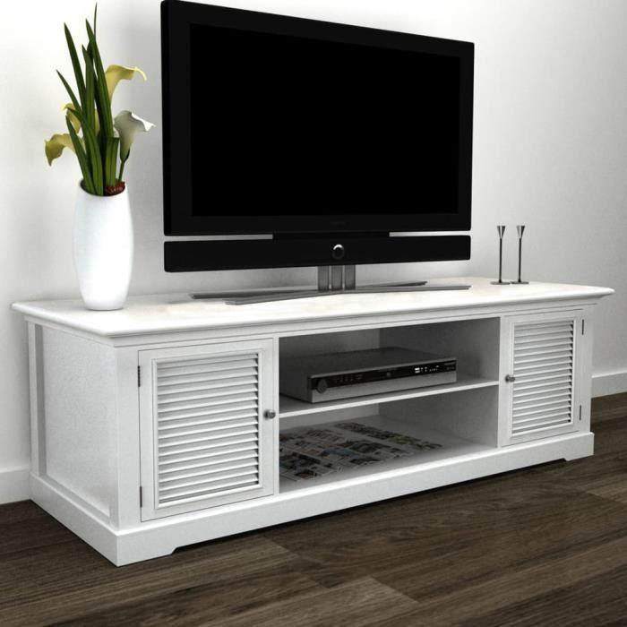 XIX Meuble de TV Bois MDF et bois de pin (cadre) + fer (poignée) 121 x 30,5 x 41,7 cm blanc