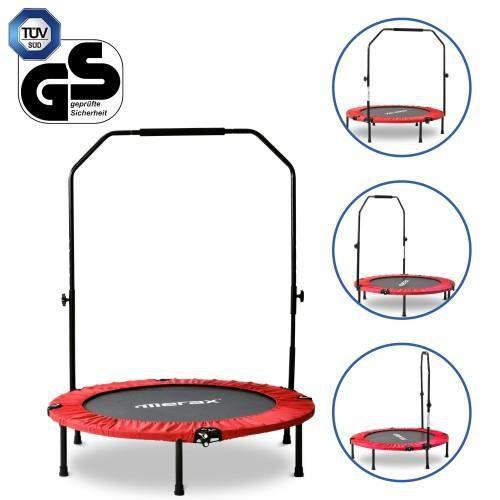 TRAMPOLINE FITNESS pliable 40 -, mini trampoline avec poignée en mousse réglable, charge max. 100 kg, Ø 102 cm--ROUGE