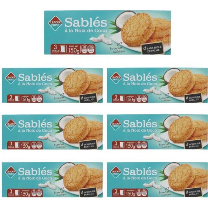 [Lot de 7] Biscuits sablés à la noix de coco - 150g par paquet