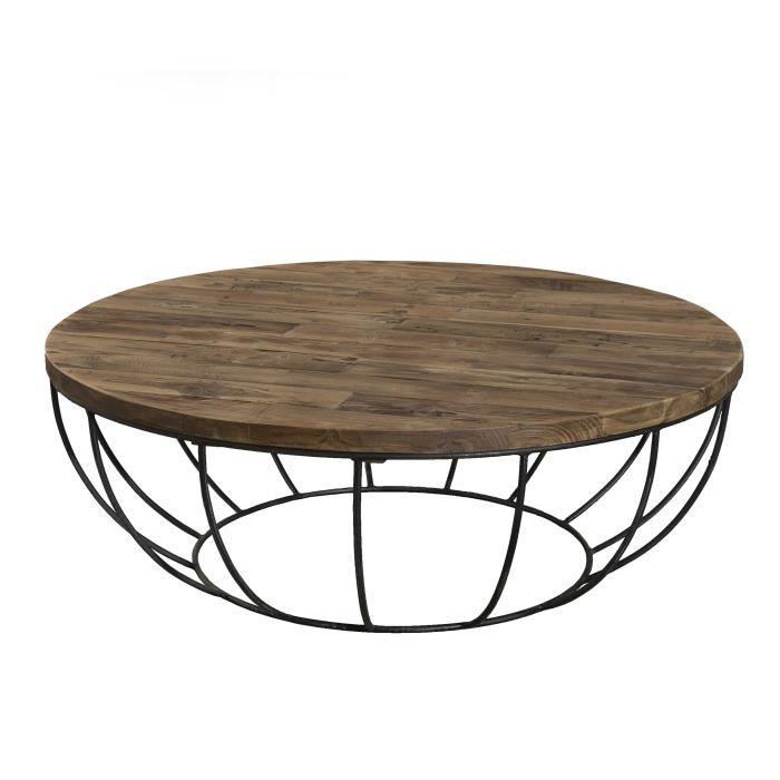 Table basse ronde style industriel en bois teck + pieds en métal et coque noire - Ø 100 cm