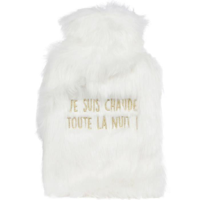 Les Vilaines Filles 39-VF-048 Bouillotte douce Je suis chaude toute la nuit Blanche 2L Caoutchouc et polyester H38 x 2 x 25 cm