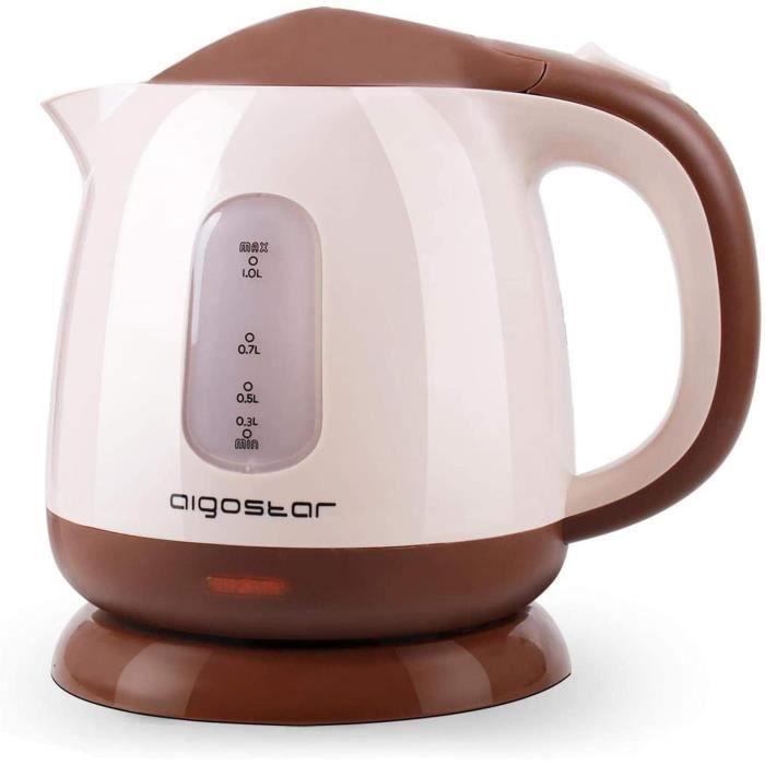 Aigostar Romeo 30HIP - Bouilloire électrique compacte d'une capacité de 1 litre, sans BPA et silencieuse. Couleur marron, puissance
