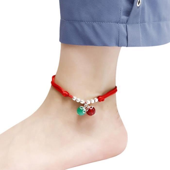 Bracelet de cheville fil rouge couleur argent perles Bracelet de pied chaîne chaîne Halhal chevillère sur la j JL12372