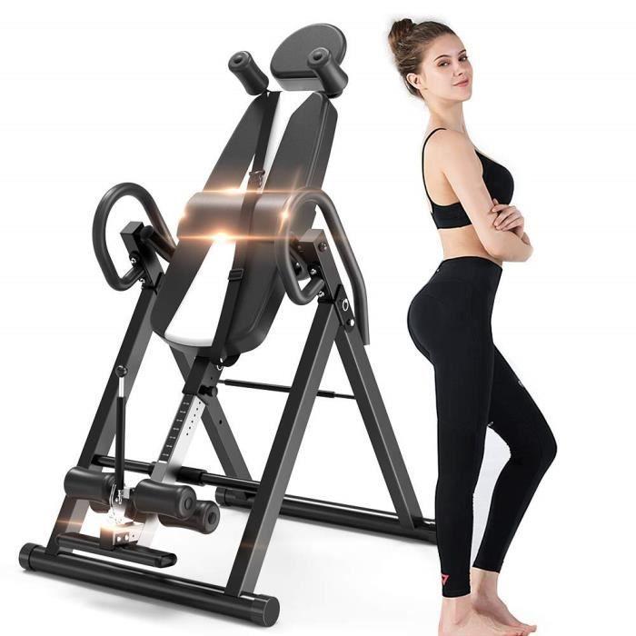 Table d'Inversion Noir Inversion 180°, Appareil Musculation Abdominale Dos Bras,Sport Bureau Support jusqu'à 150kg Taille Réglable