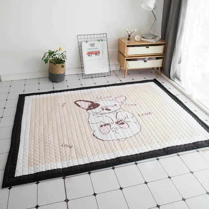Tapis de Sol Coton Animaux Antidérapant Bébé Jeu Activité Déco Maison 195X145cm TYPE D L56801