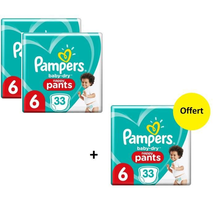 Pampers Baby Dry Pants Geant T6 X99 - Lot de 3