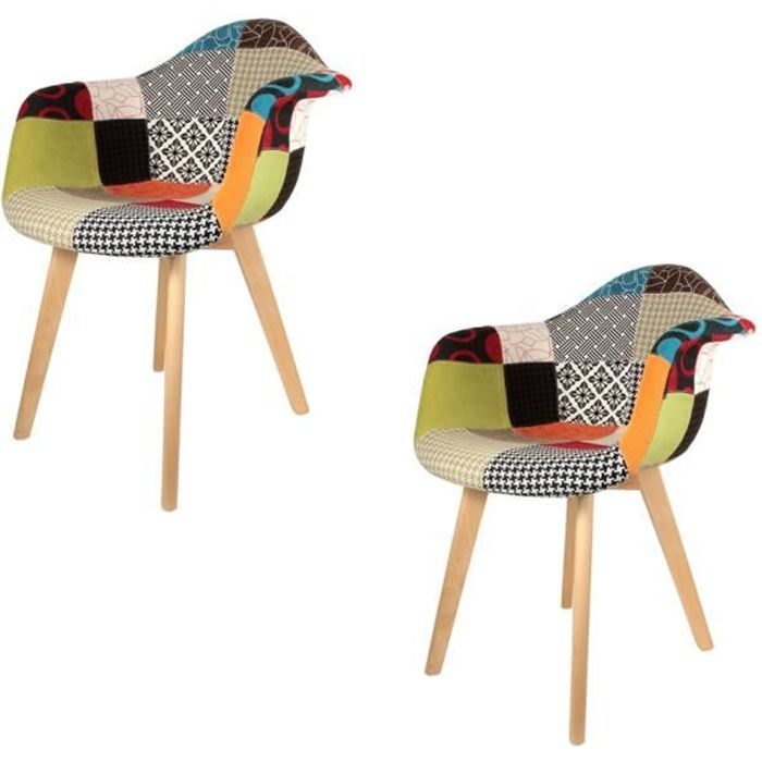 Lot de 2 Fauteuils Patchwork Multicolore The Home Deco Factory