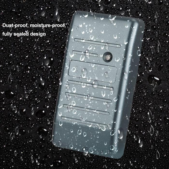 DUOKON Lecteur de contrôle d'accès de carte RFID de sécurité 125KHz Wiegand 26-34 étanche (IC13.56Mhz gris)
