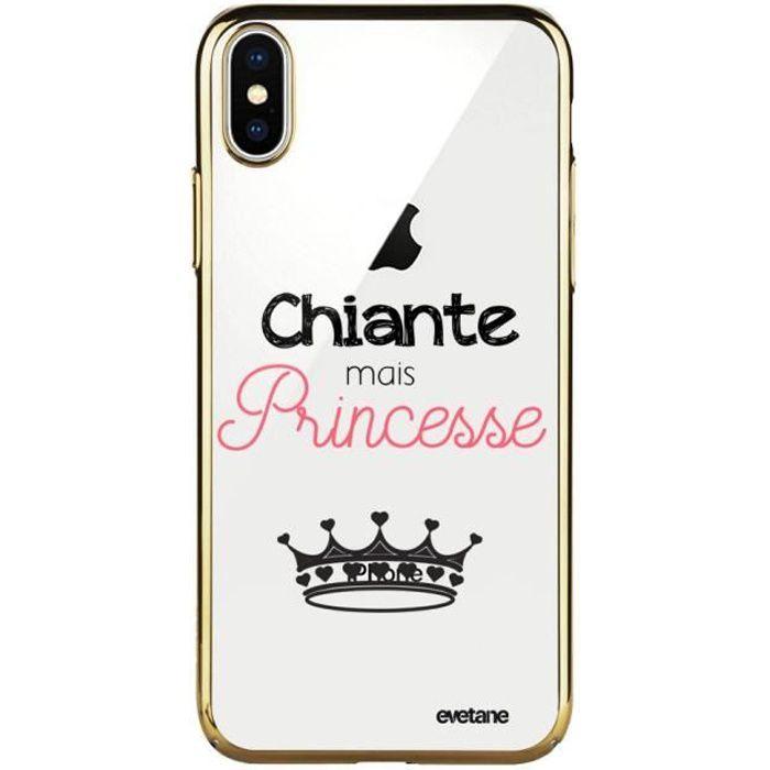 Coque pour iPhone X/ Xs bumper or Chiante mais princesse Ecriture Tendance et Design Evetane