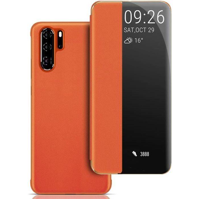 Coque Huawei P30 Pro, Avec Fonction Sommeil Intelligent/Réveillez Automatiquement,Bumper Étui Housse pour Huawei P30 Pro (Orange)