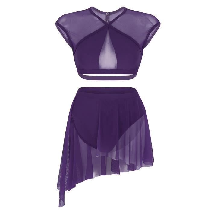 Robe de Danse Femme Tutu Justaucorps Danse Classique Manches Courtes 2 Pièces Costume XS-XL Violet