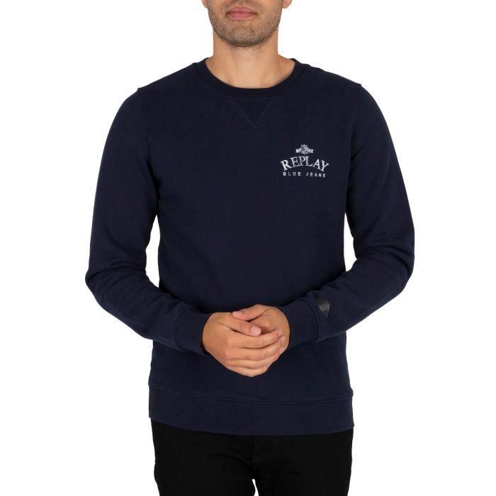 Replay Pour des hommes Sweat-shirt à logo, Bleu