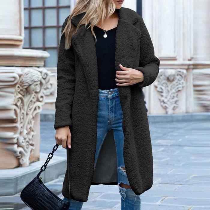 Manteau femme Manteau long d'hiver pour femme Noir