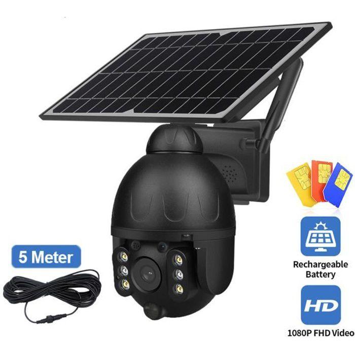 solaire PTZ caméra extérieure WIFI SIM 2MP détachable 9W panneau solaire batterie Cam détection de mouvement moniteur de sécurité in