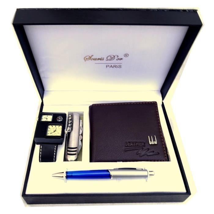 COFFRET Idée Cadeau Homme 4 en 1 Montre Couteau Suisse Stylo Portefeuille BOX