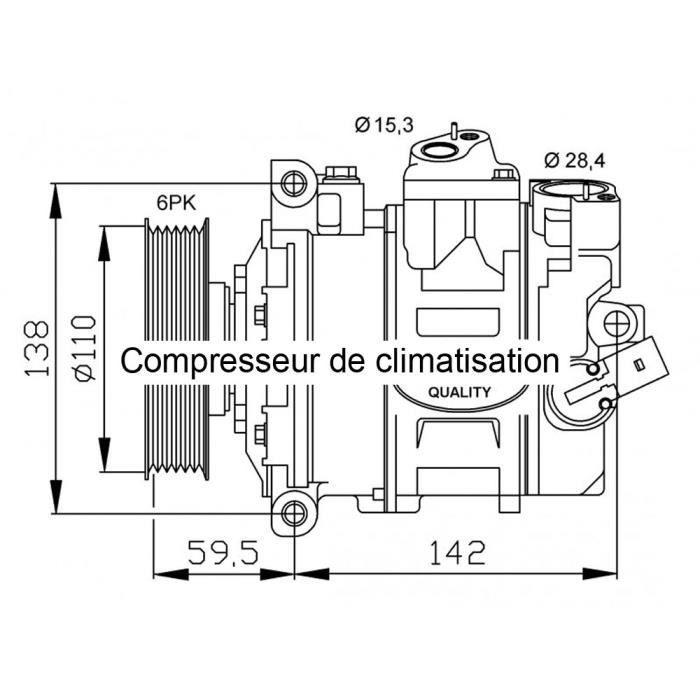 Compresseur de climatisation pour Volkswagen Touran 2.0 TDi 08/2003-05/2010