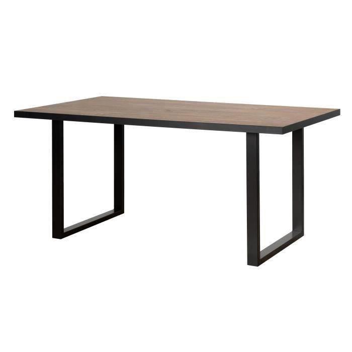 Table à manger - Décor chêne et noir et pieds métal - L 160 x P 90 x H 74,1 cm - SEWILL