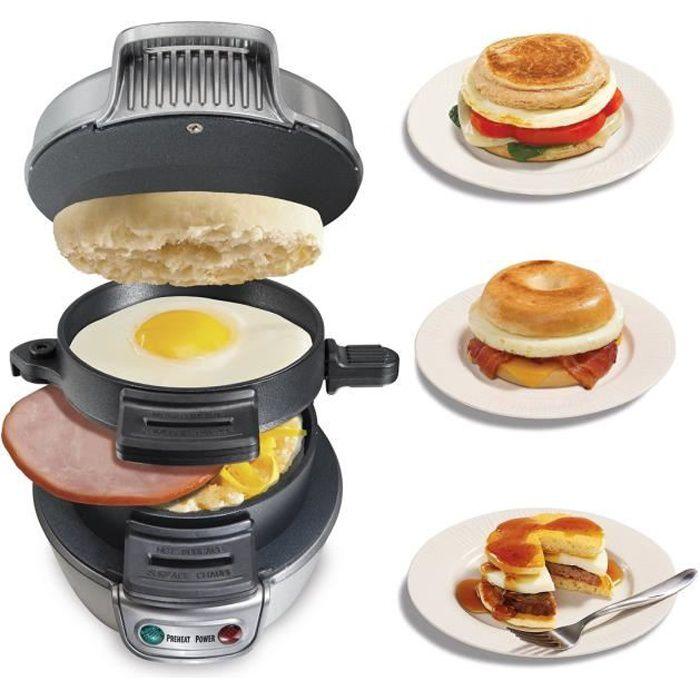 Appareil à Croque Monsieur Hamburger en 5 Minutes 600W Outil à Petit Déjeuner Gaufres