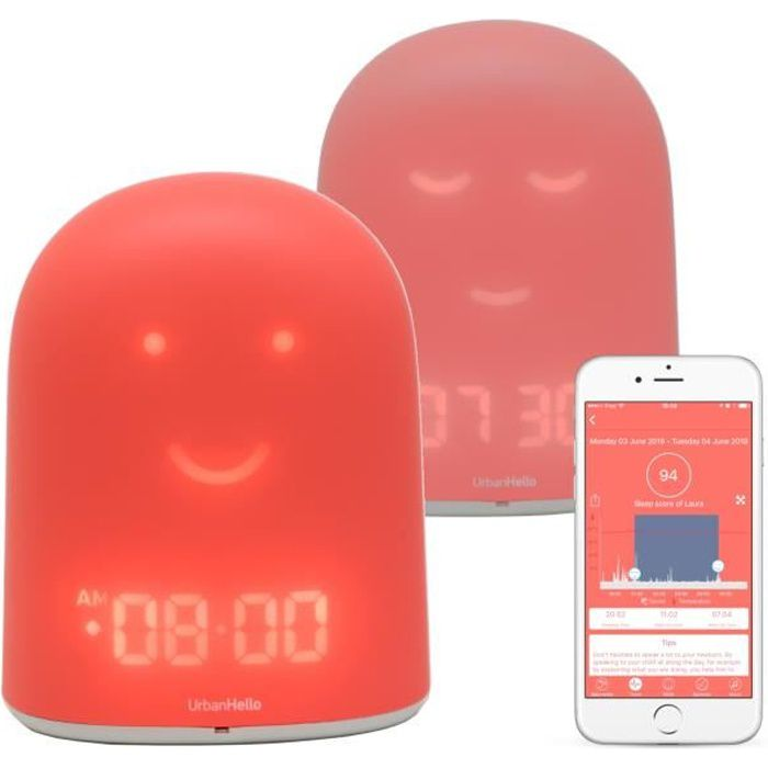 REMI - Réveil Jour Nuit Enfant - Rose - Suivi du Sommeil - Babyphone Audio - Veilleuse & Enceinte Bluetooth