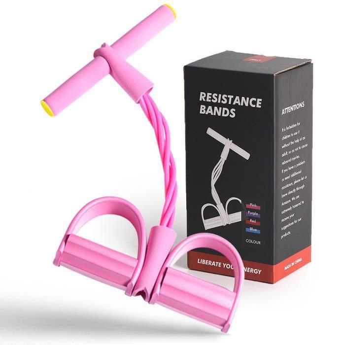 Corde de Tension Multifonctionnelle - Sit-Up Bodybuilding Expander, 4 Tube Jambe Exerciseur - Avec coffret cadeau(Rose)