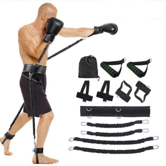 PC43118-ensemble Bandes de Elastique Résistance pour entraînement de boxe Taille et Jambes boxe exercice fitness -12 pcs- Rouge2