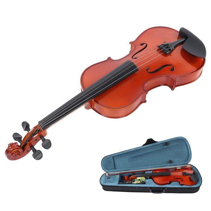 Violon 4/4 Couleur Bois Naturel Enfants Adultes Débutant Pratique Instrument De Musique En Bois-RAI