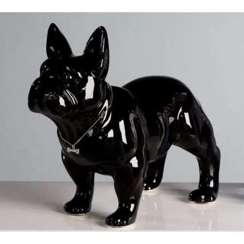 deco grande statue de chien bouledogue fran ais debout noir en c ramique l32 cm achat. Black Bedroom Furniture Sets. Home Design Ideas